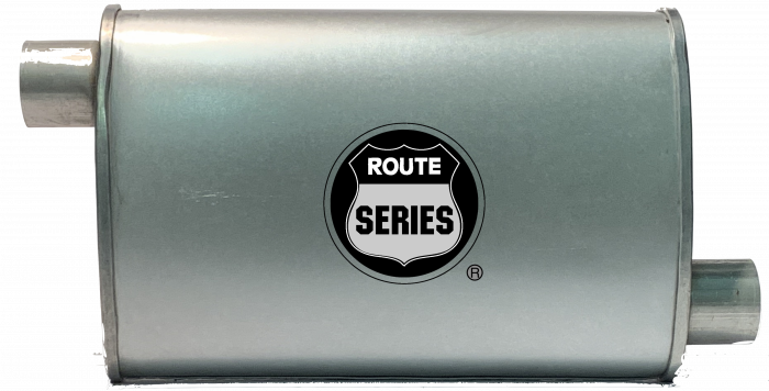 "Route Series Turbo Mufflers-2""id in 2""id out offset offset 4""X9"" oval 14"" body 18"" overall #RS66-905"