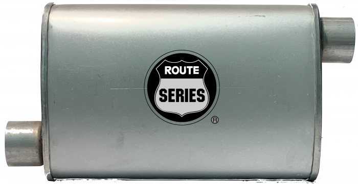 "Route Series Turbo Mufflers-2.25""id in 2.25""id out offset offset 4""X9"" oval 14"" body 18"" overall #RS66-906"