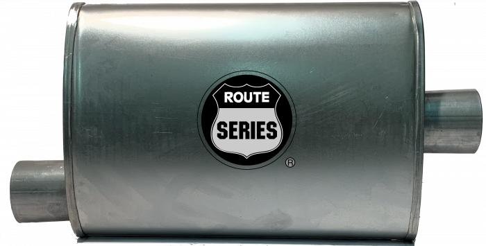"Route Series Turbo Mufflers-2.50""id in 2.50""id out offset center 4""X9"" oval 14"" body 18"" overall #RS66-911"