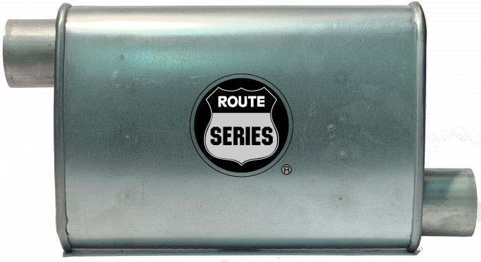 "Route Series Turbo Mufflers-2.50""id in 2.50"" id out offset offset 4""X9"" oval 14"" body 18"" overall #RS66-912"