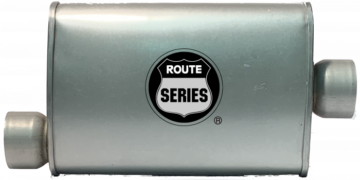 """Route Series Turbo Mufflers- 3""""id in 3""""id out offset center 4""""X9"""" oval 14"""" body 18"""" overall #RS66-913"""