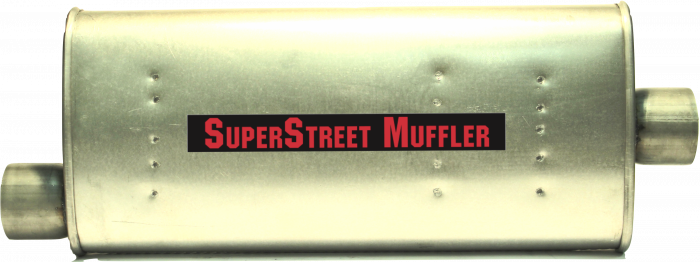 "Super Street Mufflers Professional installer - SuperStreet Muffler  3""id offset/center 4X9X22.50"" body 27.50""OAL  Part #: IM101"