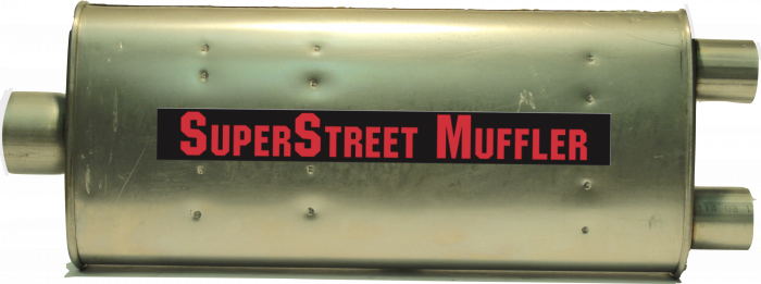 "Super Street Mufflers Professional installer - SuperStreet Muffler 3""id center in / 2.25""id dual outlet 4X9X23""body 27.5""OAL Part#: IM104"