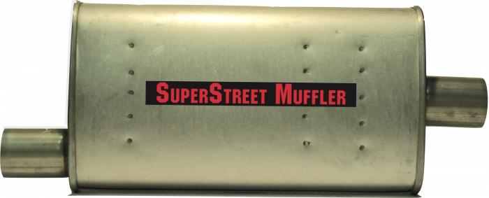 "Super Street Mufflers Professional installer - SuperStreet Muffler 2.50""id offset/center 4X9X18""body 25""OAL Part#:IM119"