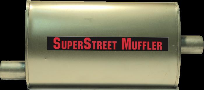 """Super Street Mufflers Professional installer - SuperStreet Muffler 2""""id offset/center 4X9X17""""body 23""""OAL Part#:IM401"""
