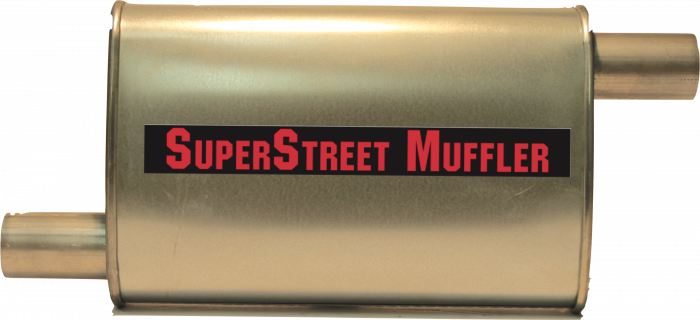 "Super Street Mufflers Professional installer - SuperStreet Muffler 2""id offset/offset 4X9X15""body 23""OAL Part#:IM418"