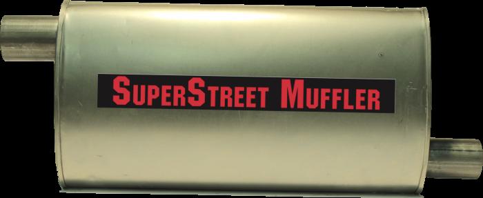 "Super Street Mufflers Professional installer - SuperStreet Muffler 2.25""id offset X 2""id offset  4X9X18""body 21""OAL Part#:IM420"