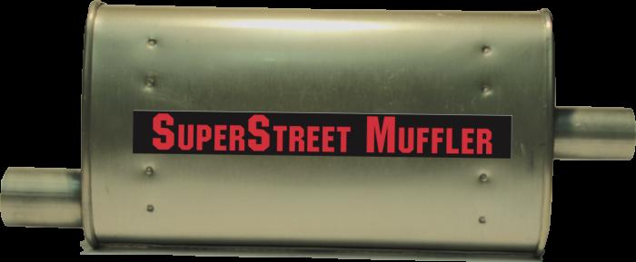 """Super Street Mufflers Professional installer - SuperStreet Muffler 2.25""""id offset X 2""""id center 4X9X18""""body 25""""OAL Part#:IM421"""
