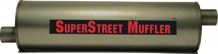 "Super Street Mufflers Professional installer - SuperStreet Muffler 2.25""id offset/offset 6""round X 25""body 33""OAL Part#:IM425"