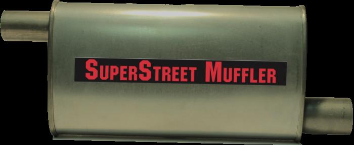 "Super Street Mufflers Professional installer - SuperStreet Muffler 2.50""id offset X 2""id offset 4X9X18""body 25""OAL Part#:IM426"
