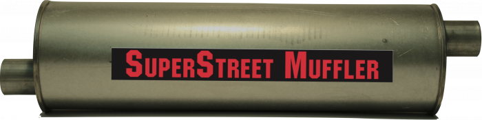 "Super Street Mufflers Professional installer - SuperStreet Muffler 2""id offset/offset 6""round X 25""body 33""OAL Part#:IM432"