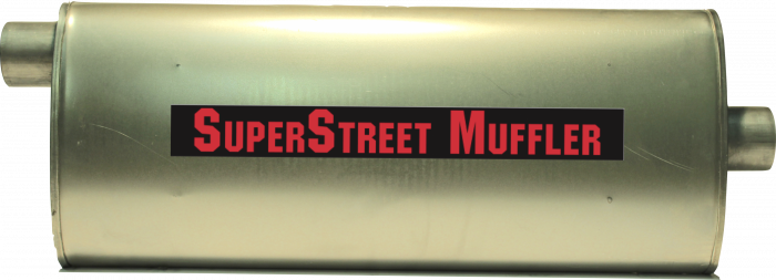 "Super Street Mufflers Professional installer - SuperStreet Muffler 2.25""id offset/center 4.50""X9.75""X24""body 28.50""OAL Part#:IM434"