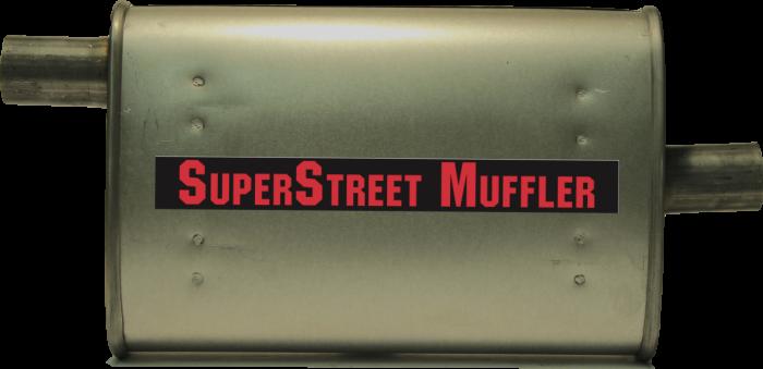 """Super Street Mufflers Professional installer - SuperStreet Muffler 1.75""""id offset/center 4X9X15""""body 21""""OAL Part#:IM458"""