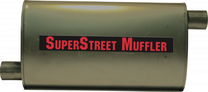 "Super Street Mufflers Professional installer - SuperStreet Muffler 2.25""id offset/offset 4X9X18""body 25""OAL Part#:IM459"