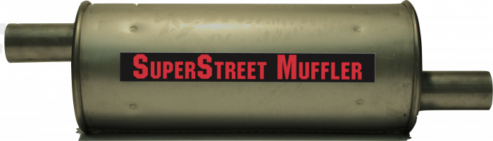 "Super Street Mufflers Professional installer - SuperStreet Muffler 1.75""id offset/offset 6""round X 15.50""body 23""OAL Part#:IM471"