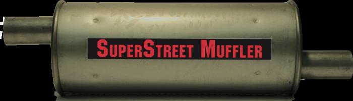 "Super Street Mufflers Professional installer - SuperStreet Muffler 2""id offset/offset 6""round X 18""body 23""OAL Part#:IM472"