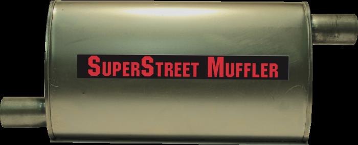 "Super Street Mufflers Professional installer - SuperStreet Muffler 2""id offset/offset 4X9X18""body 25""OAL Part#:IM474"