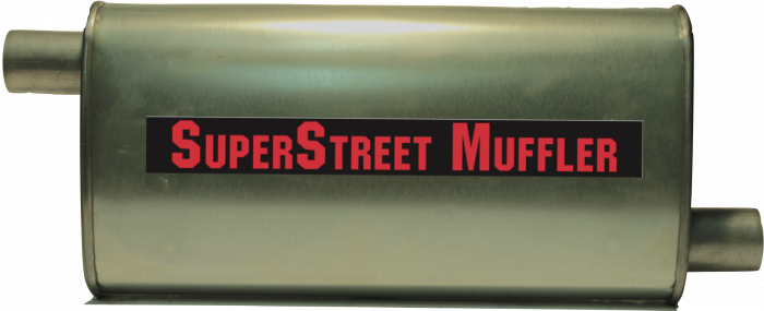 "Super Street Mufflers Professional installer - SuperStreet Muffler 2""id offset/offset 4.50""X9.50""X20""body 25.50""OAL Part#:IM479"