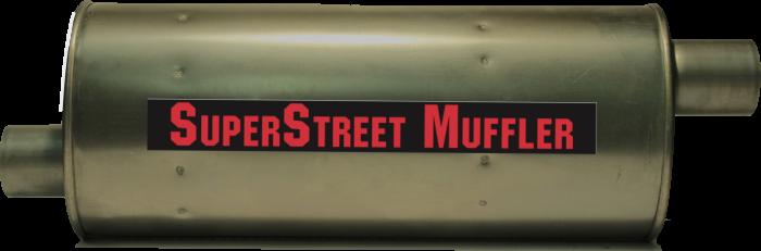 """Super Street Mufflers Professional installer - SuperStreet Muffler 2.75""""id offset/center 7X9X22.50""""body 29.50""""OAL Part#:IM790"""
