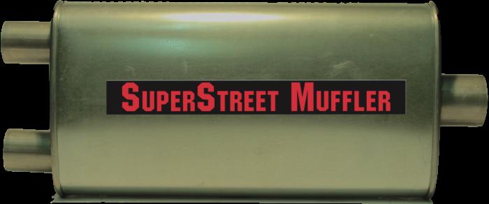 """Super Street Mufflers Professional installer - SuperStreet Muffler 2.50""""id center x 2""""id dual outlet 4.5X9.5X19""""body 25""""OAL part#:IM533"""
