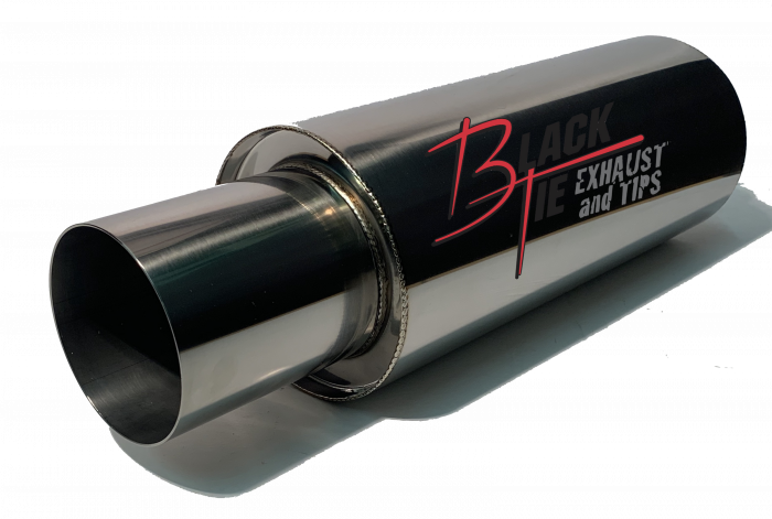 """BlackTie Exhaust and Stainless Steel Tips - BlackTie Muffler-4"""" TIP x 2.25"""" ID INLET 5.7"""" RD x 17.5""""BODY 20.3""""OAL Polished Stainless Steel"""