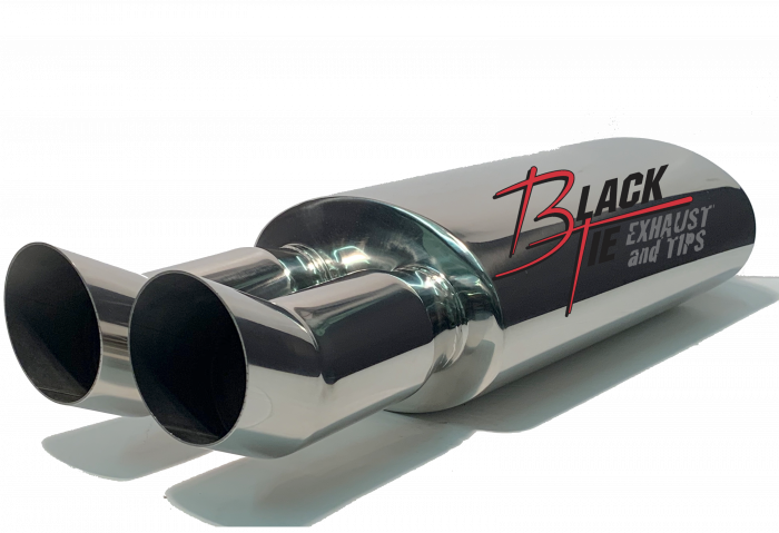 """BlackTie Exhaust and Stainless Steel Tips - BlackTie Muffler-3""""DUAL TIPS TURNED UP 2.25""""ID CENTER INLET 5"""" X 8"""" OVAL X 14"""" BODY 25""""OAL POLISHED STAINLESS STEEL"""