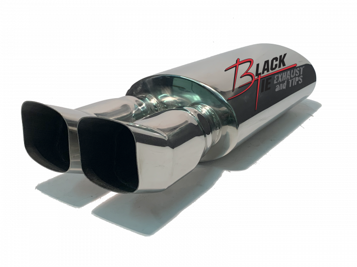 """BlackTie Exhaust and Stainless Steel Tips - BlackTie Muffler-3.25"""" X 3.5"""" DUAL TURNED UP 2.25""""ID CENTER INLET 5"""" X 8"""" OVAL X 14"""" LONG BODY 24.5""""OAL POLISHED STAINLESS STEEL"""