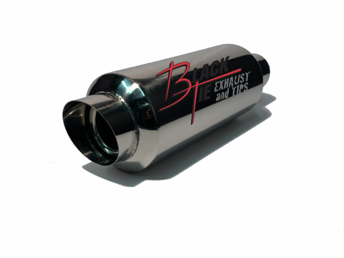 "BlackTie Exhaust and Stainless Steel Tips - BlackTie Muffler-3"" ANGLE TIP 2.25""ID INLET 4.5"" RD X 15.5""OAL POLISHED STAINLESS STEEL"