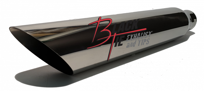 "BlackTie Exhaust and Stainless Steel Tips - BlackTie Tip 3.50""round X 2.25""id, 18""long angle cut BT4722AC"