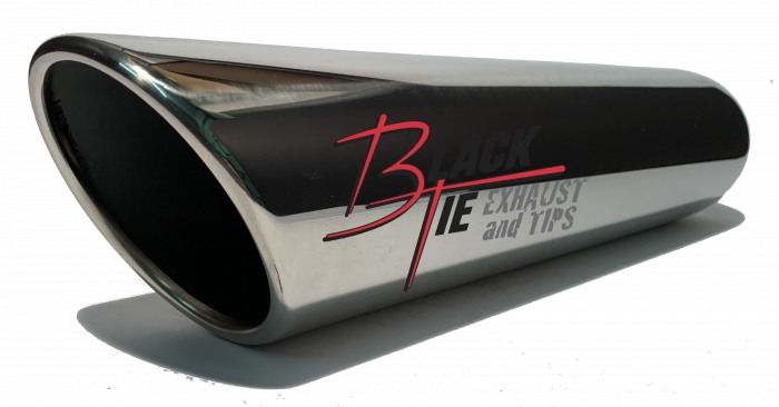 "BlackTie Exhaust and Stainless Steel Tips - Blacktie Tip 4""round  X 2.50""id, 18""long inner rolled angle cut BTRAC418"