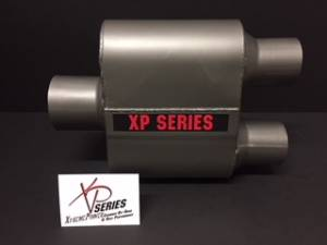 "Mufflers - XtremePower Chamber  - XtremePower Chamber Highway and Street Performance - XP100 Series- 4"" X 9"" X 6.50"" BODY 3""ID INLET 2.50""ID DUAL OUT 13""OAL  #XP427"