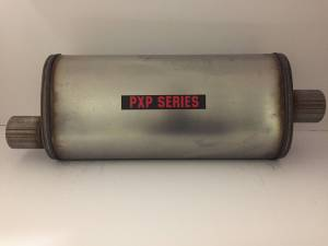 "Mufflers - ProlineXtreme Performance  - ProlineXtreme Performance Highway and Off Road - PXP1800 Series-2.25""id in 2.25""id out offset center 5""X8"" oval 18"" body 24"" overall universal muffler #PXP2255"
