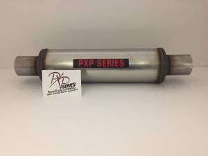 "ProlineXtreme Performance Highway and Off Road - PXP1400 Series- 2.25""id in 2.25""id out center in center out 4"" round 14"" body 20"" overall universal muffler #PXP0445 - Image 2"