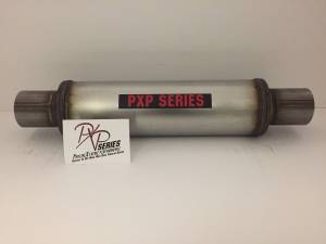 "ProlineXtreme Performance Highway and Off Road - PXP1400 Series- 2.50""id in 2.50""id out center in center out 4"" round 14"" body 20"" overall universal muffler #PXP0416 - Image 2"