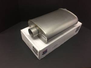 "Hot Rod and Muscle Car - Route Series Turbo Mufflers- 2""ID in 2""ID out offset center 4""X9"" oval 14"" body 18"" overall #RS66-903 - Image 1"