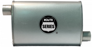 "Route Series - Route Series Turbo Mufflers - Route Series Turbo Mufflers-2""id in 2""id out offset offset 4""X9"" oval 14"" body 18"" overall #RS66-905"