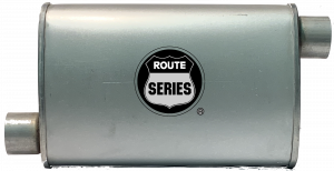 "Route Series - Route Series Turbo Mufflers - Route Series Turbo Mufflers-2.25""id in 2.25""id out offset offset 4""X9"" oval 14"" body 18"" overall #RS66-906"