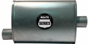 "Route Series - Route Series Turbo Mufflers - Route Series Turbo Mufflers-2.50""id in 2.50""id out offset center 4""X9"" oval 14"" body 18"" overall #RS66-911"