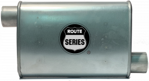 "Route Series - Route Series Turbo Mufflers - Route Series Turbo Mufflers-2.50""id in 2.50"" id out offset offset 4""X9"" oval 14"" body 18"" overall #RS66-912"