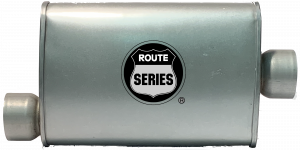 "Route Series - Route Series Turbo Mufflers - Route Series Turbo Mufflers- 3""id in 3""id out offset center 4""X9"" oval 14"" body 18"" overall #RS66-913"
