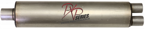 "Mufflers - ProlineXtreme Truck Performance - PXP Series Truck Performance - PXP truck series-7"" Round, 30"" Body, 37"" OAL 3""ID Center Inlet, 2.5""ID Dual Outlet #PXPT4027"