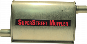 "Super Street Mufflers Professional installer - SuperStreet Muffler 1.75""id offset/offset 4X9X15""body 21""OAL Part#:IM405"
