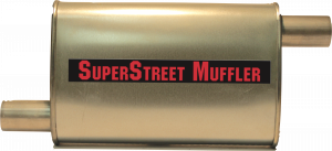 "Super Street Mufflers Professional installer - SuperStreet Muffler 2""id offset/offset 4X9X15""body 23""OAL Part#:IM418"