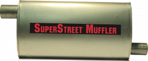 "Super Street Mufflers Professional installer - SuperStreet Muffler 2.25""id offset X 2""id offset  4X9X18""body 21""OAL Part#:IM420"
