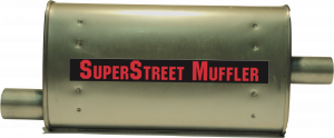 "Super Street Mufflers Professional installer - SuperStreet Muffler 2.25""id offset X 2""id center 4X9X18""body 25""OAL Part#:IM421"