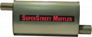 "Super Street Mufflers Professional installer - SuperStreet Muffler 2.50""id offset X 2""id offset 4X9X18""body 25""OAL Part#:IM426"
