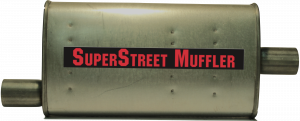 "Super Street Mufflers Professional installer - SuperStreet Muffler 2.25""id offset/center 4X9X18""body 25""OAL Part#:IM422"