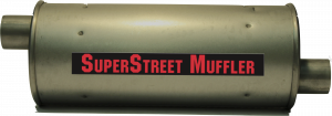 "Super Street Mufflers Professional installer - SuperStreet Muffler 2""id offset/offset 6""round X 15""body 19""OAL Part#:IM428"