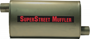 "Super Street Mufflers Professional installer - SuperStreet Muffler 2.25""id offset/offset 4X9X18""body 25""OAL Part#:IM437"