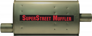 "Super Street Mufflers Professional installer - SuperStreet Muffler 2.50""id offset X 2.25""id center 4X9X18""body 25""OAL Part#:IM447"